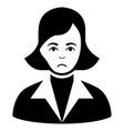 sad lady black icon vector image