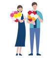 set a man and a woman holding bouquets vector image vector image