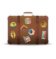 suitcase stickers old retro luggage with travel vector image vector image