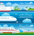 Summer travel horizontal banners set vector image vector image