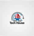 tech house logo with red real estate and modern vector image