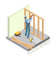 isometric interior repairs concept builder with vector image