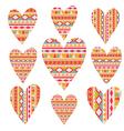 tribal hearts set aztec vintage folklore vector image