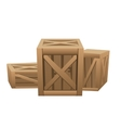 Three large wooden boxes for transportation vector image
