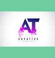 at a t purple letter logo design with liquid vector image vector image