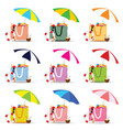 bag for beach with stuff color set vector image vector image
