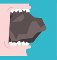 bite stone gnaw granite broken teeth open mouth vector image vector image