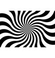 black and white spiral background swirling radial vector image vector image