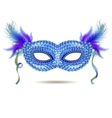 blue venetian carnival mask with feathers vector image