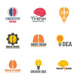 brain concept logo set flat style vector image