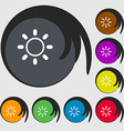 Brightness icon sign Symbols on eight colored vector image