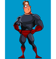 cartoon muscular man in a Superman costume stands vector image vector image