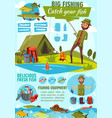 cartoon poster of fisher man fishing vector image