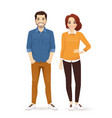 casual business man and woman vector image vector image