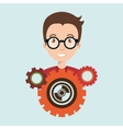 character gears system symbol vector image