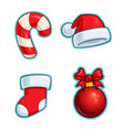 christmas cartoon icon set - candy cane santa hat vector image