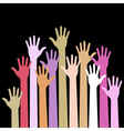 colorful up hands on black background vector image vector image