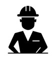 construction worker in helmet solid icon builder vector image vector image