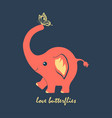 cute elephant and butterfly vector image