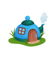 cute fantasy house in form of blue teapot with vector image vector image