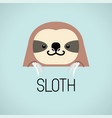 cute sloth head design on blue background vector image vector image