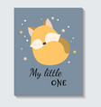 cute sticker sleeping fox with my little one vector image vector image