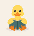 duck reading a book vector image vector image