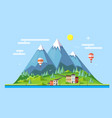 flat style design of countryside mountains vector image
