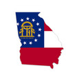 georgia ga state map shape with flag vector image vector image