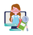 happy teachers day student girl computer book vector image vector image