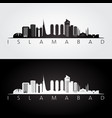 islamabad skyline and landmarks silhouette vector image