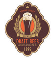 label for draft beer with glass and coat of arms vector image vector image
