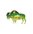 large buffalo silhouette with prairie landscape vector image vector image