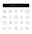 line icons set insurance pack vector image vector image