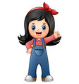 little girl in blue overall vector image vector image