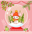 little mouse in a glass ball with a new year s vector image vector image
