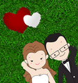 Lovely couple laying in grass vector image vector image