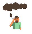man smoking cigarette air pollution and health vector image