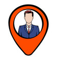 map pointer with businessman icon icon cartoon vector image