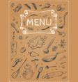 menu design food sketches on poster vector image vector image