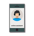 mobile phone with online assistant who advises vector image