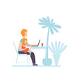 mother working on laptop computer while sitting at vector image vector image