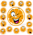 orange cartoon with many expressions vector image vector image