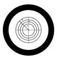 radar icon black color in circle vector image vector image