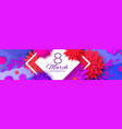 red paper cut flower banner 8 march womens day vector image