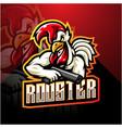 rooster gunner esport mascot logo design vector image vector image