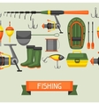 Seamless pattern with fishing supplies Background vector image