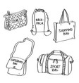 set of hand drawn bags doodles isolated on a white vector image