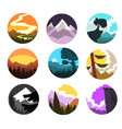 set of wild nature round landscape mountain l vector image vector image