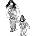 sketch young mother with her little son going vector image